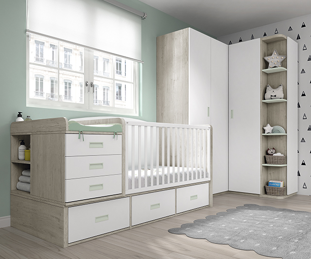 Dormitorio infantil Ros Mini Plus Cuna dark blanco agua