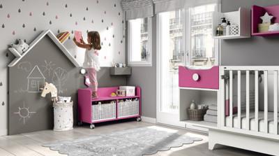 Dormitorio infantil Ros Mini Tic blanco gris fucsia