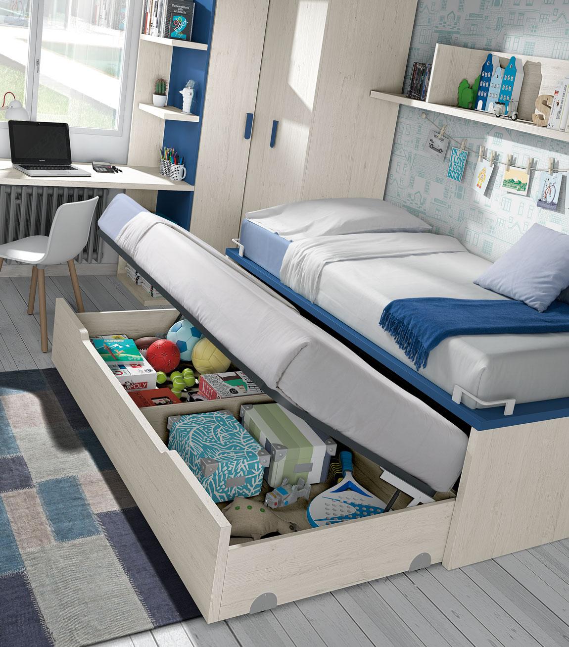 Dormitorio Juvenil Ros: Deatlle en tonos Urban Indigo